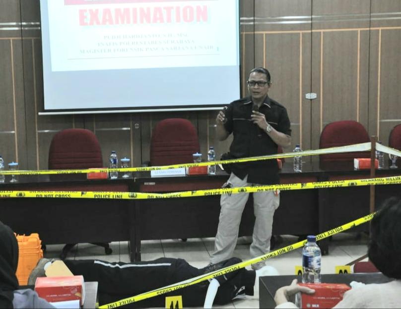 Prodi Magister Ilmu Forensik Pascasarjana Unair latihan Olah TKP